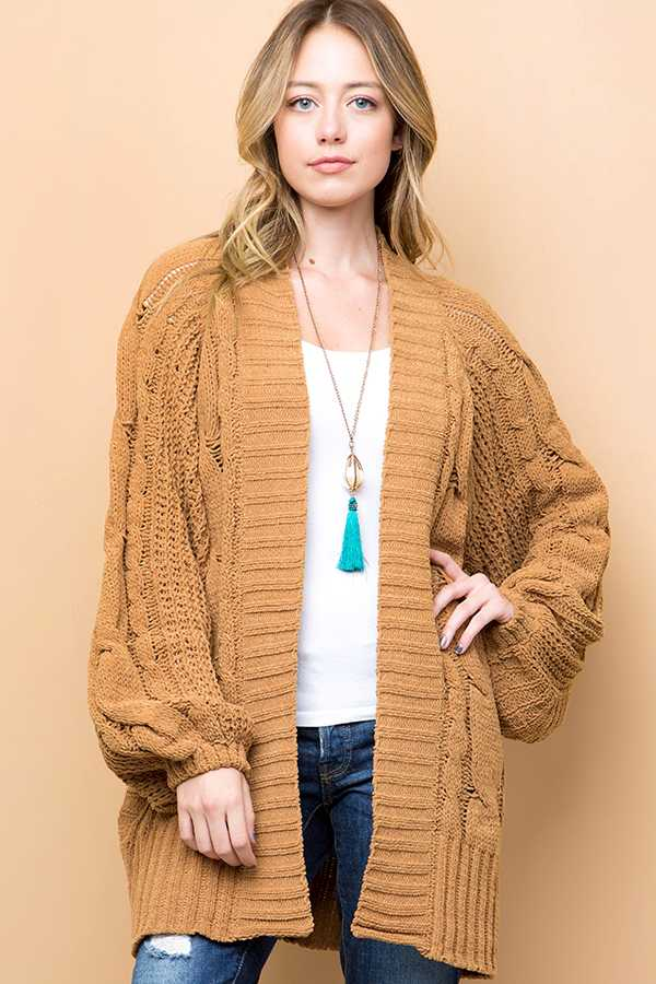 SOLID CABLE KNIT CARDIGAN SWEATER