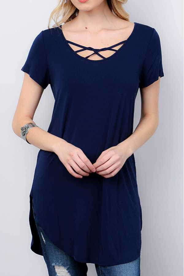 SOLID STRAPPY NECK CURVED HEM TUNIC TOP
