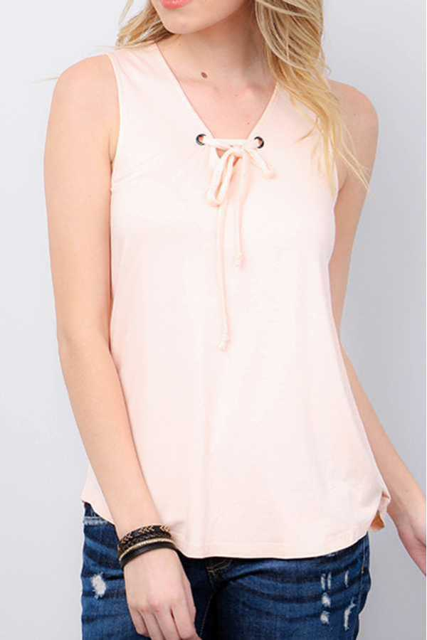 SOLID V-NECK WITH TIE SLEEVELESS TOP1577_15318716