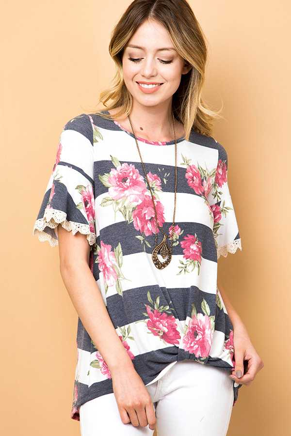 STRIPED FLORAL PRINT RUFFLE SLEEVE TOP