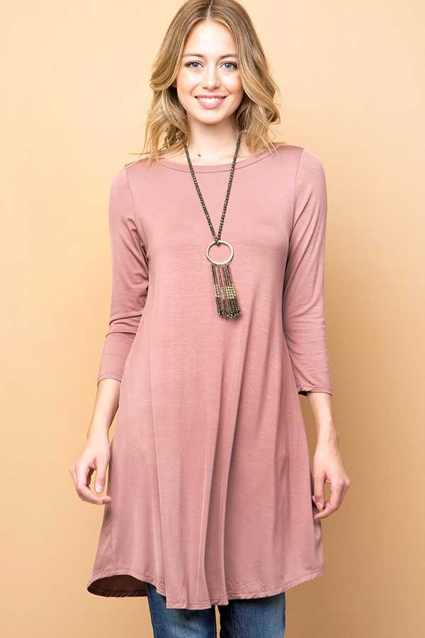 SOLID MODAL ROUND NECK 3/4 SLEEVE TUNIC MIDI DRESS