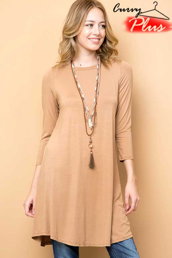 SOLID MODAL ROUND NECK 3/4 SLEEVE MIDI DRESS