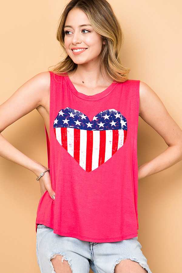 SOLID HEART AMERICAN FLAG PRINT SLEEVELESS TOP