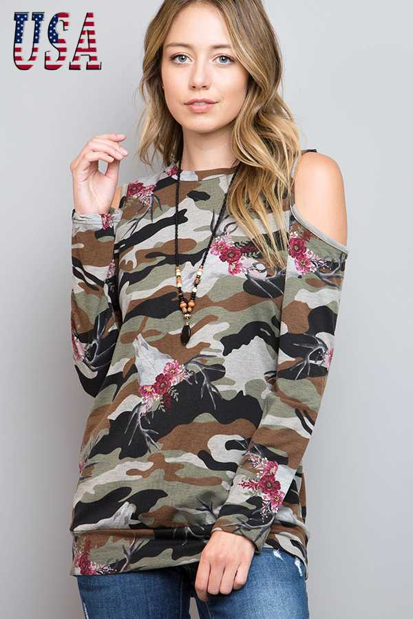 FLORAL COW SKULL ARMY PRINT COLD SHOULDER TOP