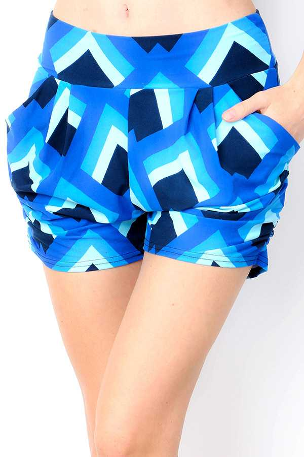 BRUSHED ABSTRACT GEO PRINT HAREM SHORTS