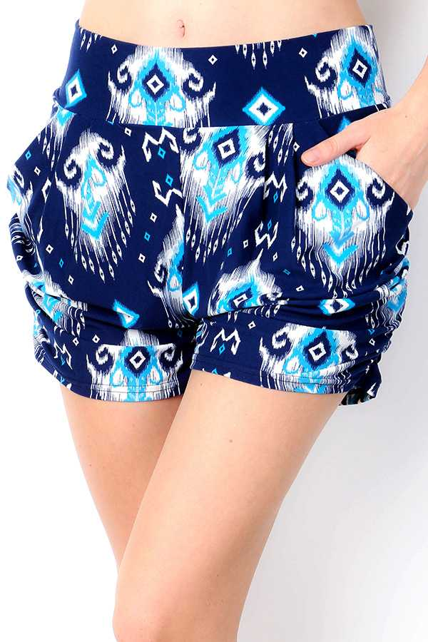 BRUSHED ETHNIC PATTERNED PRINT HAREM SHORTS