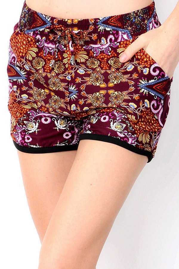 BRUSHED ABSTRACT PRINT DOLPHIN SHORTS