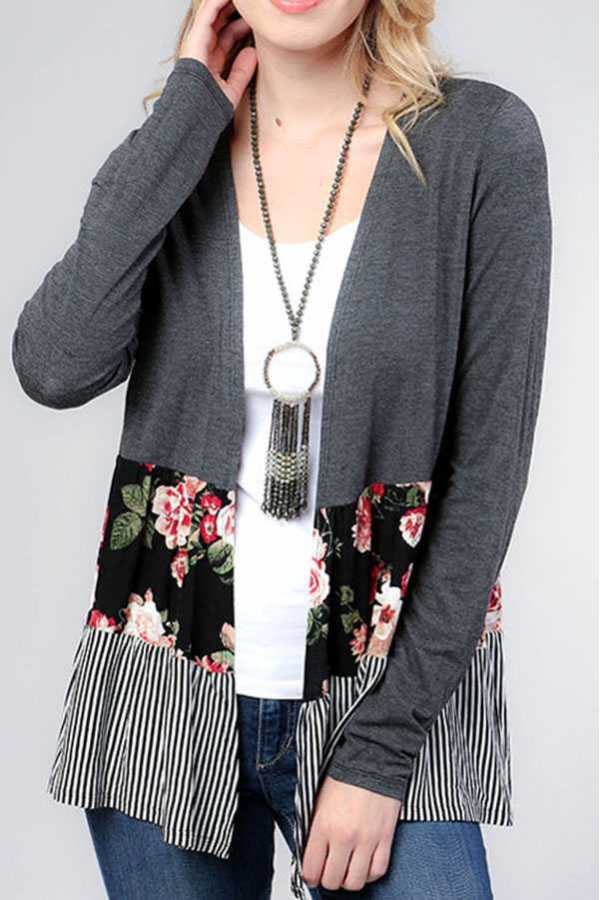COLOR BLOCK WITH FLORAL PRINT ACCENT OPEN CARDIGAN