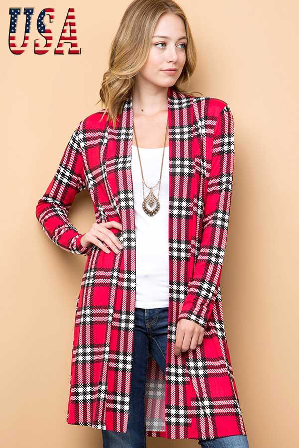 PLAID PRINT BANDED OPEN CARDIGAN
