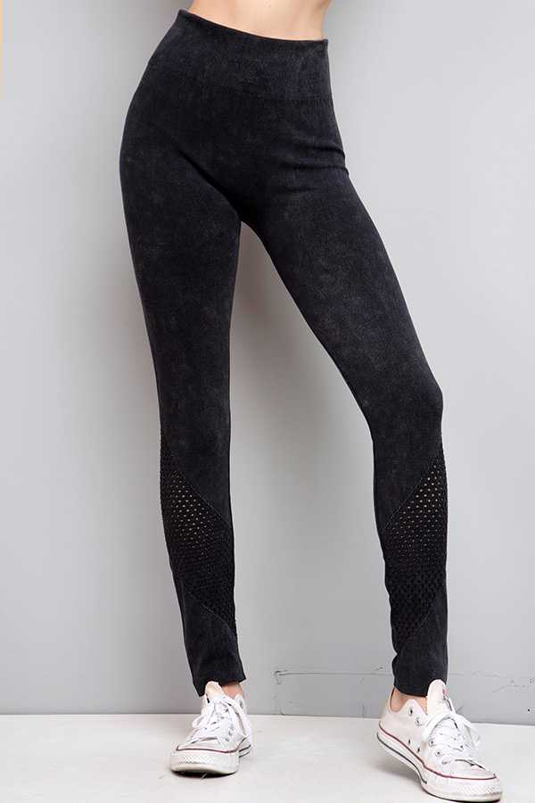 WASHED SOLID NET INSERT LEGGINGS