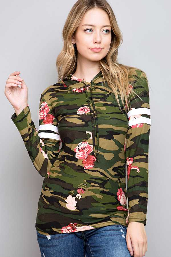FLORAL CAMO PRINT VARSITY STRIPED SLEEVE HOODED TOP