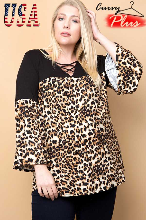 LEOPARD PRINT COLOR BLOCK SWING TOP