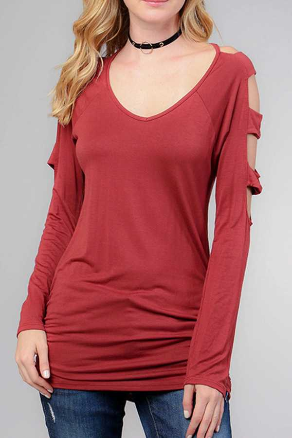 SOLID LADDER CUTOUT SHOULDER TUNIC TOP