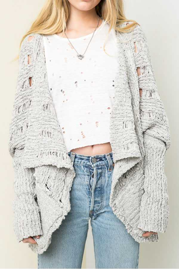 SOLID OPEN KNIT CARDIGAN