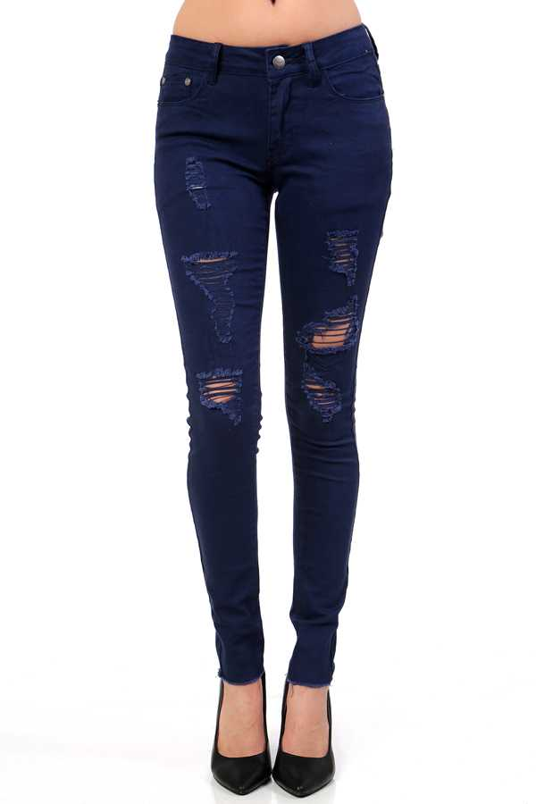 DISTRESSED SKINNY PANTS