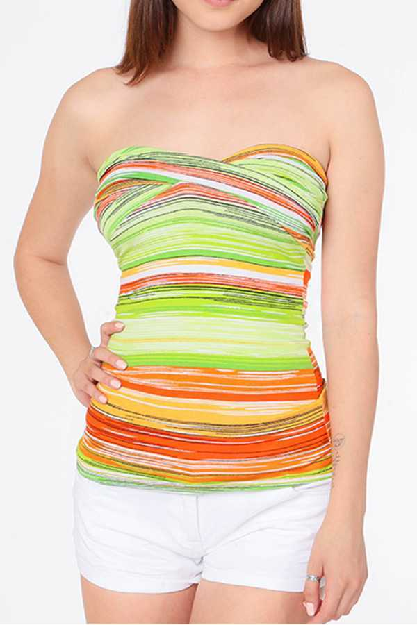 STRIPED STRAPLESS TWISTED TUBE TOP
