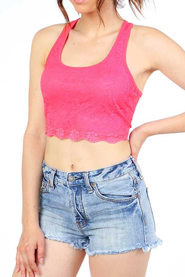 FLORAL LACE TANK CROP TOP