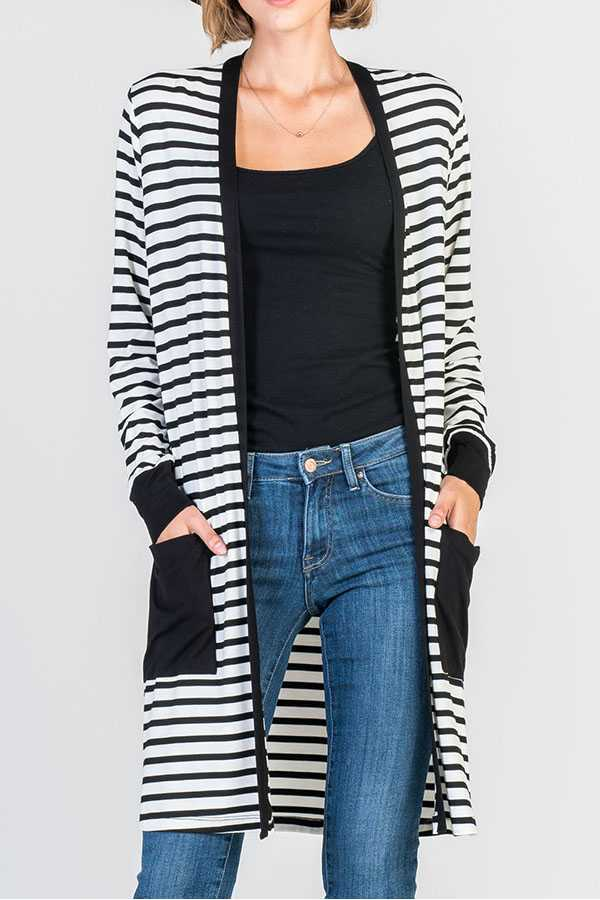 STRIPED PRINT MIDI CARDIGAN