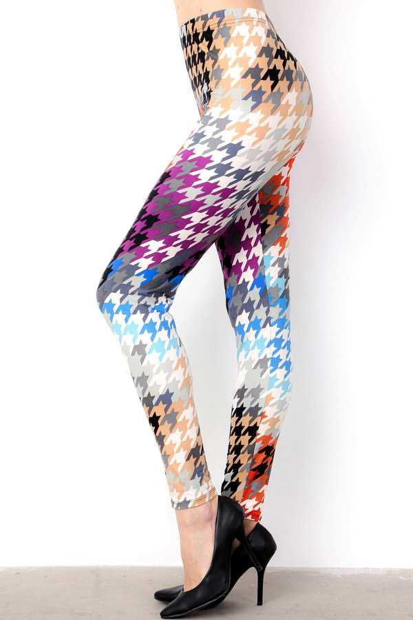 PLUS SIZE MULTI-COLORED HOUNDSTOOTH PRINT LEGGINGS