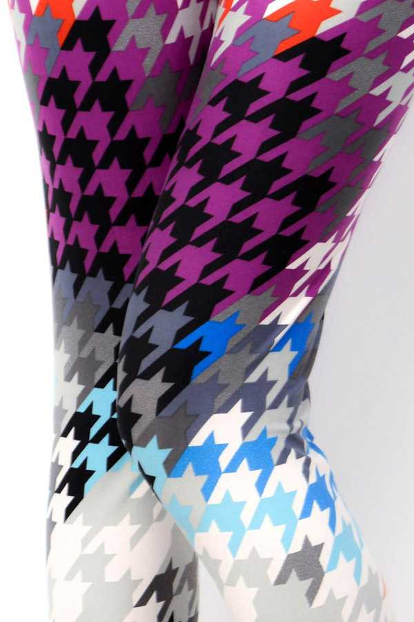 MULTI-COLORED HOUNDSTOOTH PRINT LEGGINGS