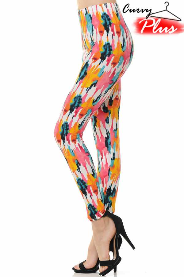 PLUS SIZE TIE DYE PRINT LEGGINGS
