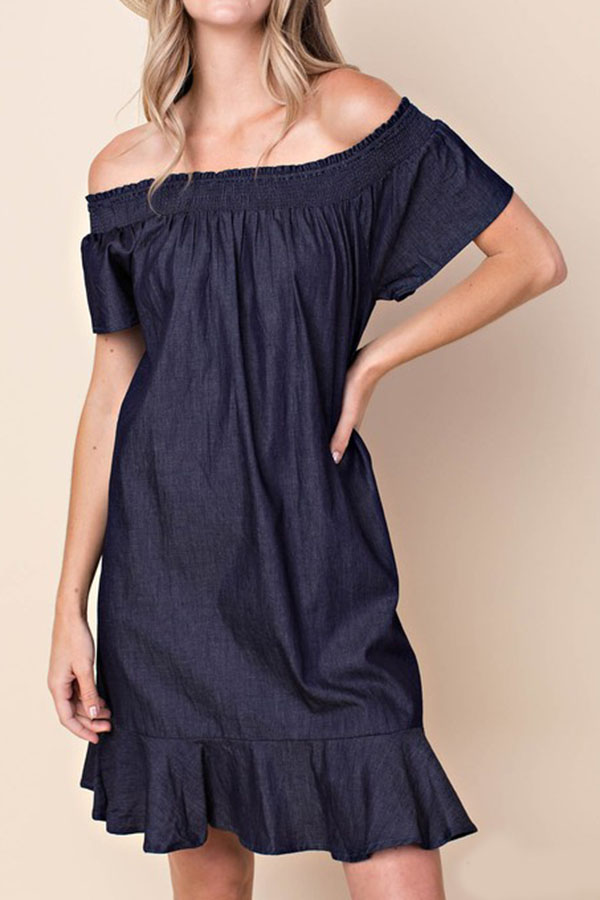 SOLID OFF SHOULDER DRESS