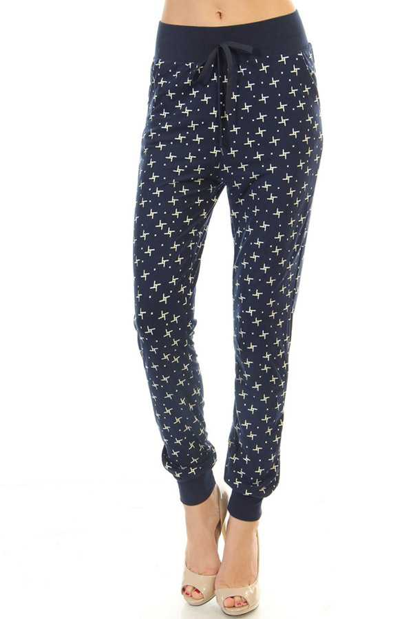 VANE PRINT DRAWSTRING JOGGERS WITH SIDE POCKETS