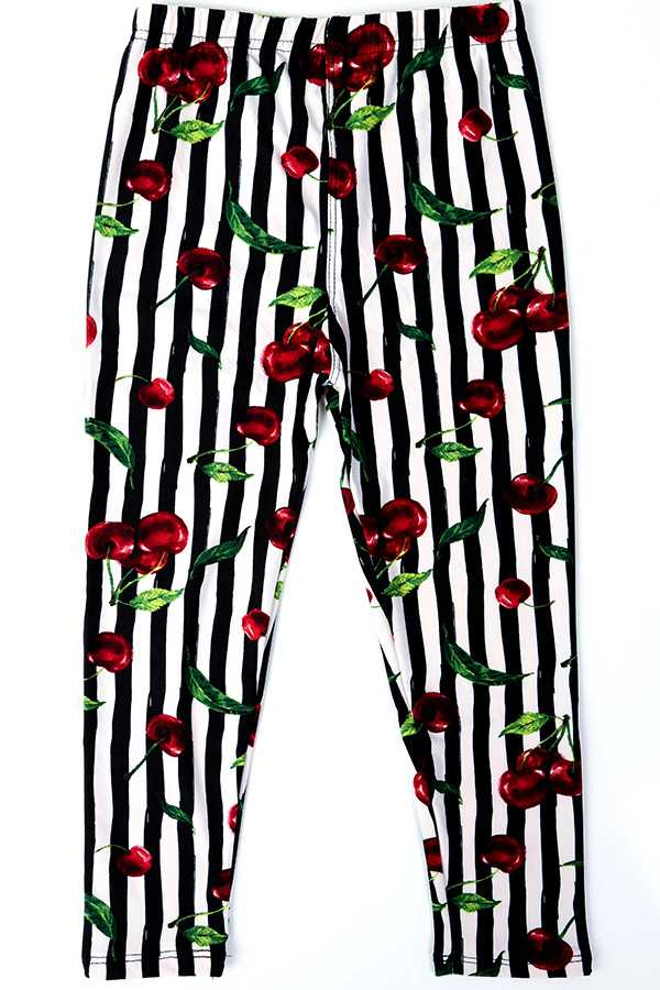 CHERRY & STRIPE PRINT KIDS LEGGINGS