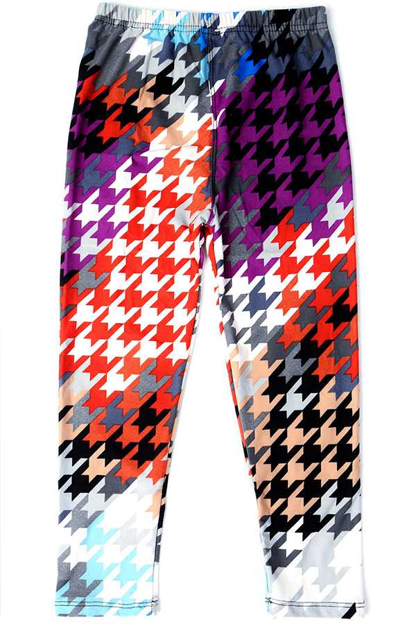 MULTI-COLORED HOUNDSTOOTH PRINT KIDS LEGGINGS