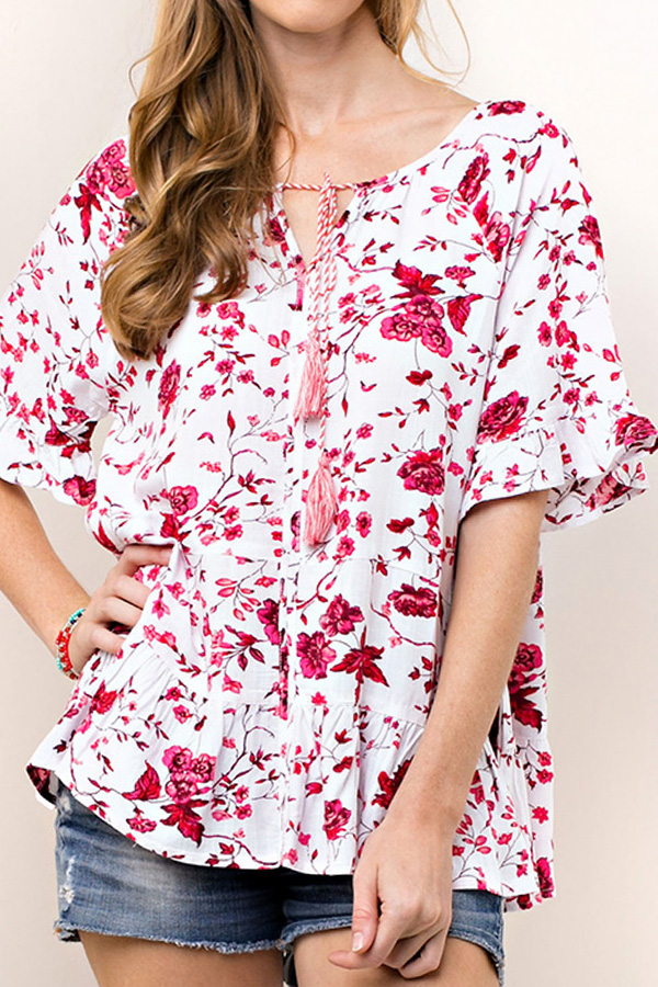 FLORAL PRINT RUFFLED SLEEVES TASSEL TRIM TOP