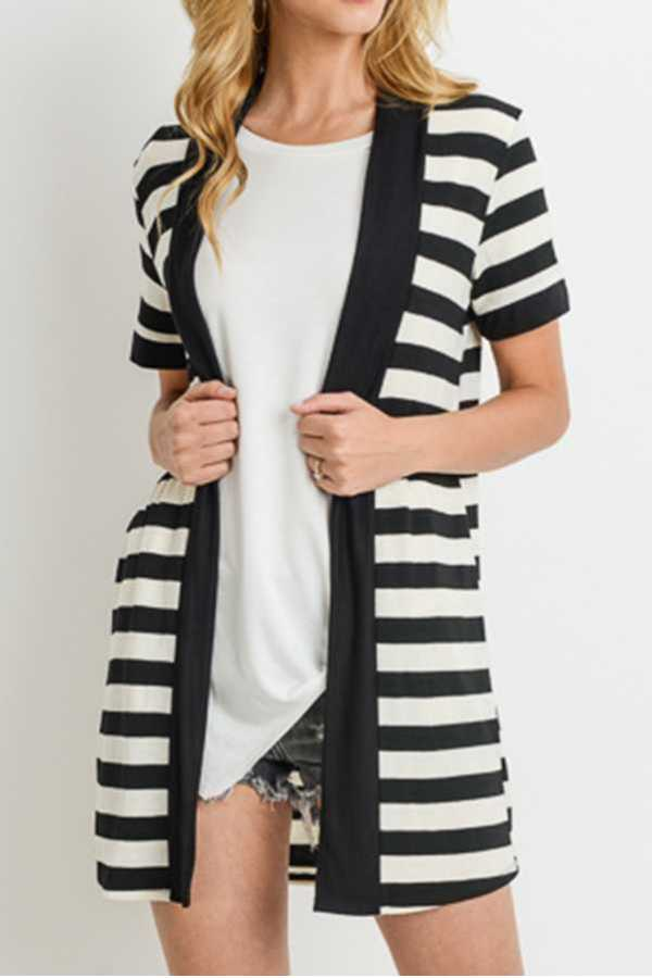 STRIPED PRINT OPEN CARDIGAN