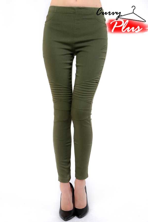 PLUS SIZE SOLID MOTO STRETCH PANTS
