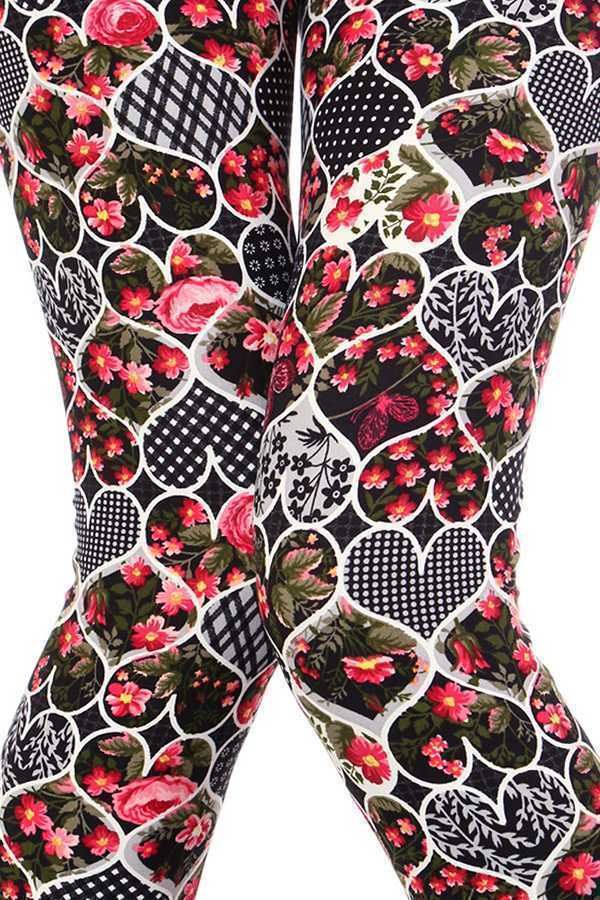 HEART SHAPE FLORAL PRINT LEGGINGS
