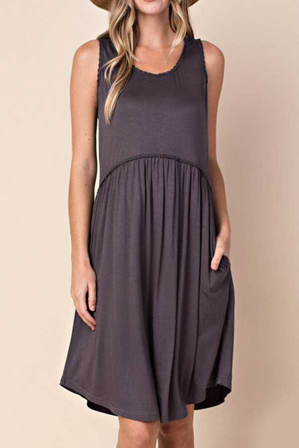 SOLID SWING MIDI DRESS