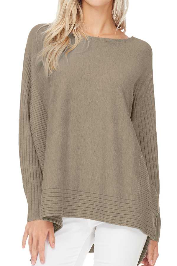 SOLID HI-LO KNIT TOP