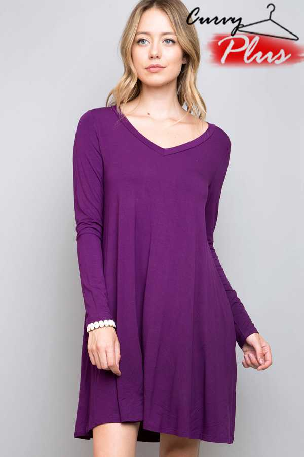 SOLID MODAL V-NECK DRESS