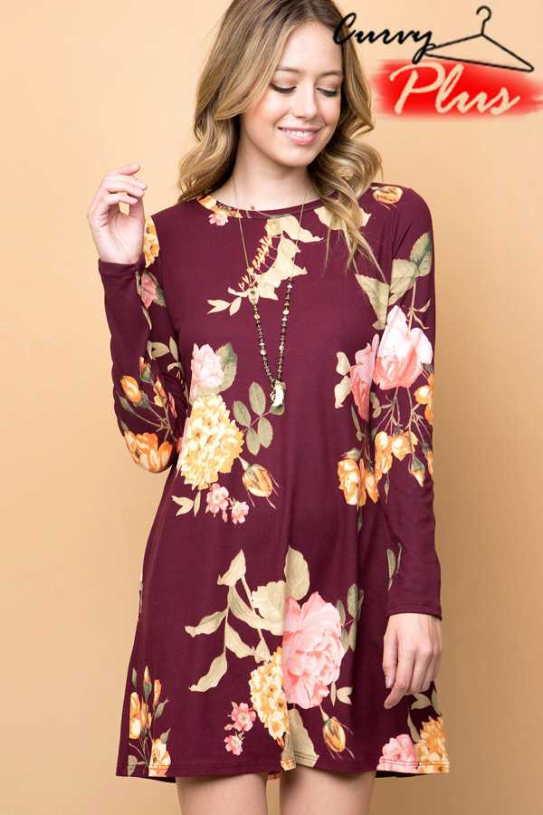 FLORAL PRINT LONG SLEEVE MIDI DRESS WITH POCKETS
