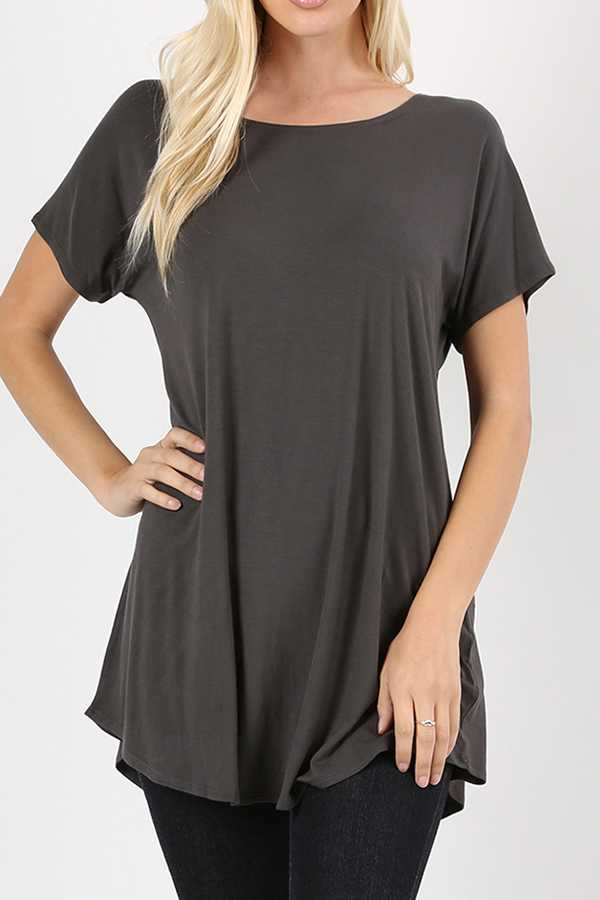 PREMIUM RAYON SOLID DROPPED SHOULDER SHORT SLEEVE TOP