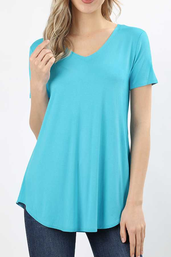 PREMIUM RAYON SOLID V-NECK CURVED HEM TOP