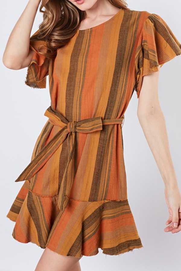 STRIPED RUFFLED SHIFT DRESS WITH WAIST TIE