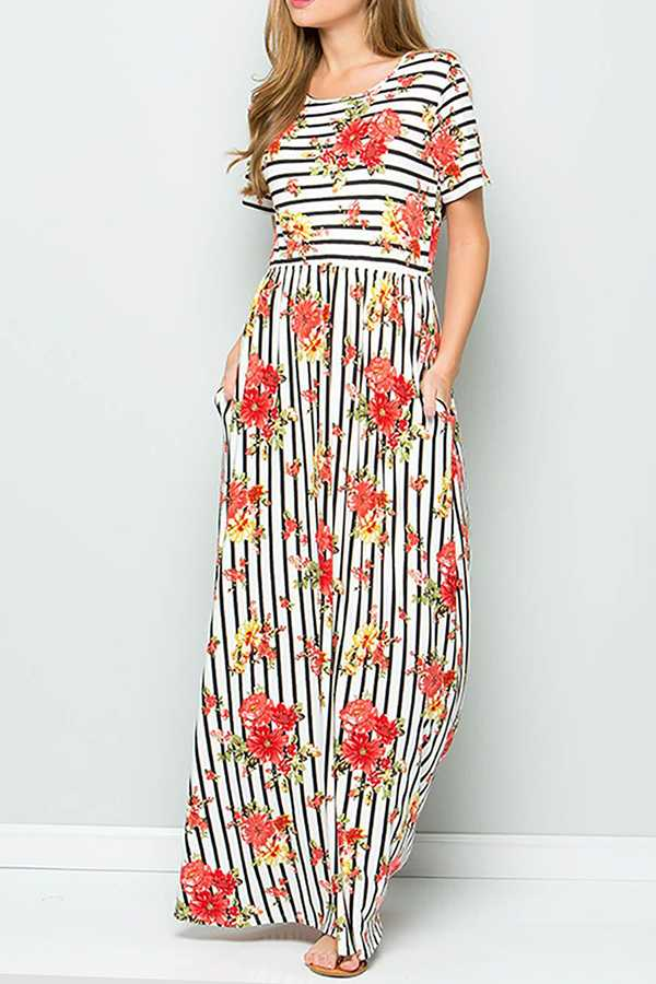 STRIPED FLORAL PRINT MAXI DRESS