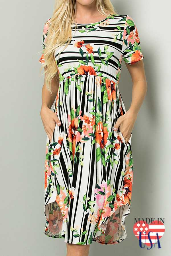 [PREORDER 04/02/19] FLORAL PRINT BABY DOLL MIDI DRESS