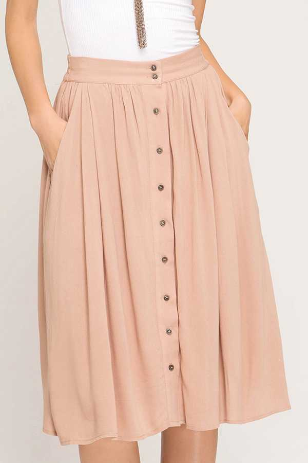 SOLID HI-WAIST MIDI DRESS