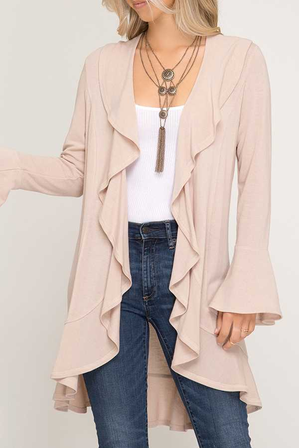 SOLID BELL SLEEVE CARDIGAN