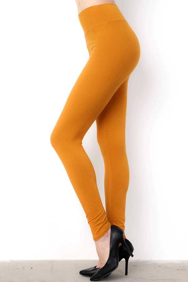 HIGH-WAIST SOLID BRUSHED LEGGINGS