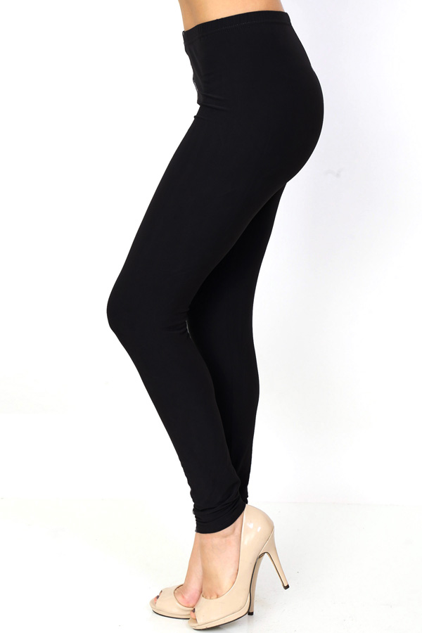 PLUS SIZE SOLID BRUSHED LEGGINGS