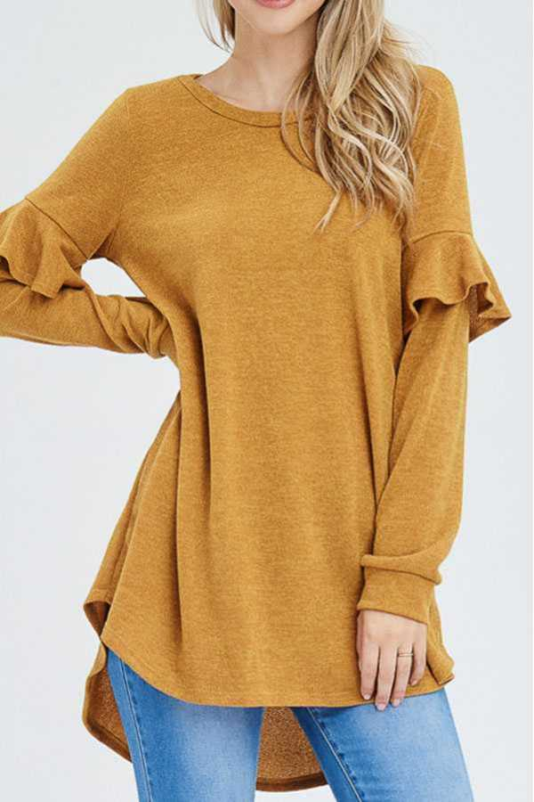 SOLID RUFFLE DETAIL SWEATER KNIT TUNIC
