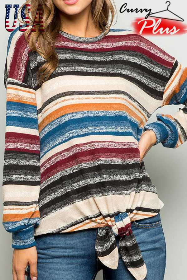 MULTI STRIPED LONG SLEEVE TOP