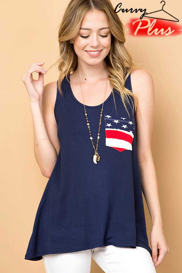 AMERICAN FLAG POCKET DETAIL TANK TOP