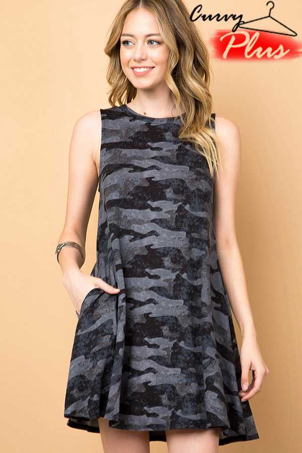 CAMOUFLAGE POCKET SWING DRESS